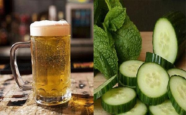 Cách trị mụn dưới cằm với bia và dưa chuột