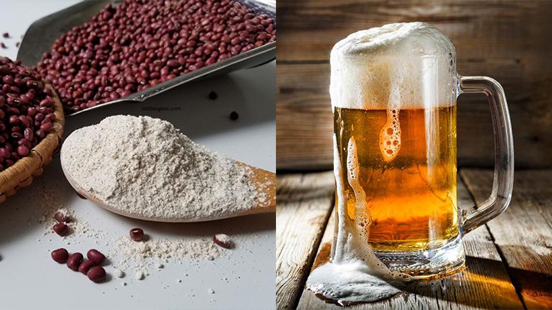 bột đậu đỏ và bia